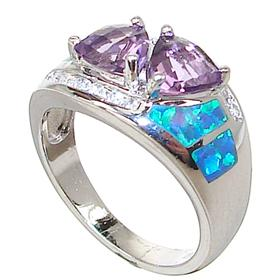 Amethyst Created Opal Sterling Silver Ring size N