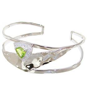 Designer Peridot Sterling Silver Bracelet Bangle