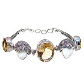 Chunky Sunny Citrine Sterling Silver Bracelet