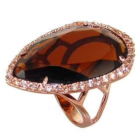 Large Smoky Quartz Sterling Silver Ring size N 1/2