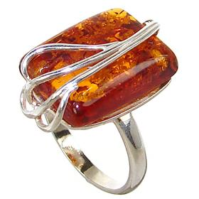 Baltic Amber Sterling Silver Ring size R 1/2