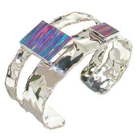 Designer Created Fire Opal Sterling Silver Bracelet Bangle