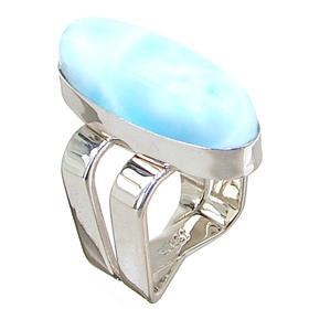 Chunky Designer Larimar Sterling Silver Ring size O