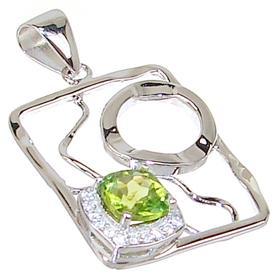 Designer Peridot Sterling Silver Pendant