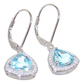 Designer Blue Topaz Sterling Silver Earrings
