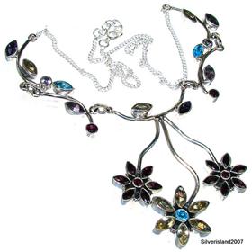 Genuine Garnet, Amethyst Sterling Silver Necklace.Silver Gemstone Necklace.