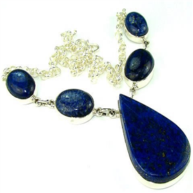 Lapis Lazuli Sterling Silver Necklace Jewellery.Silver Gemstone Necklace.