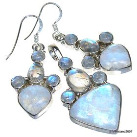 Rainbow Moonstone Sterling Silver Set Jewellery.Silver Gemstone Set.