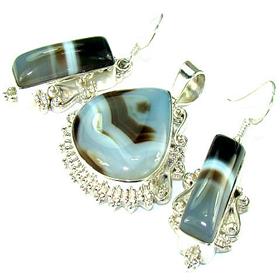 Botswana Agate Sterling Silver Set Jewellery.Silver Gemstone Set.