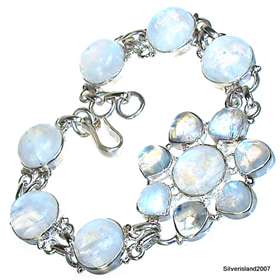 Rainbow Moonstone Sterling Silver Bracelet Jewellery