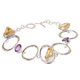 Sunny Citrine Amethyst Sterling Silver Bracelet