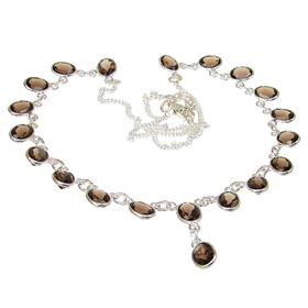 Charming Smoky Quartz Sterling Silver Necklace 19 inches long