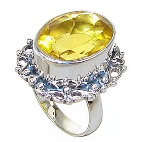 Chunky Sunny Quartz Sterling Silver Ring size N