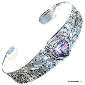 Incredible Mystic Topaz Sterling Silver Bangle Bracelet.Silver Gemstone Bracelet