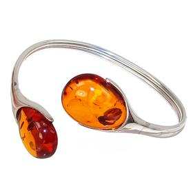 Stunning Baltic Amber Sterling Silver Bracelet Bangle
