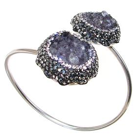Incredible Druzy Sterling Silver Bracelet Bangle