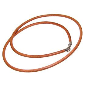 Brown Leather Necklace Cord with Sterling Silver Lock 20 inches long