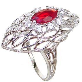 Designer Red Quartz Sterling Silver Ring size R 1/2