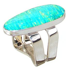 Designer Created Fire Opal Sterling Silver Ring Size M