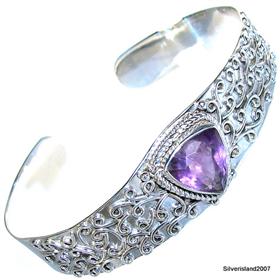 Purple Amethyst Sterling  Silver Bracelet Jewellery.Silver Gemstone Bracelet.