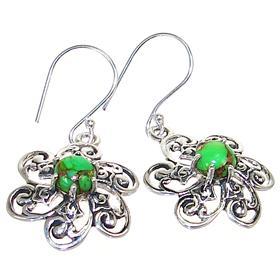 Fancy Green Turquoise Sterling Silver Earrings