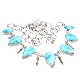 Fancy Larimar Sterling Silver Necklace 18 inches long