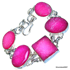 Caribbean Druzy Sterling Silver Bracelet.Silver Gemstone Bracelet.