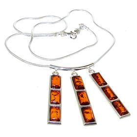 Designer Baltic Amber Sterling Silver Necklace 16 inches long