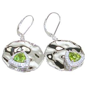 Large Designer Peridot and Crystal Sterling Silver Earrings