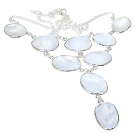 Fancy Moonstone Sterling Silver Necklace Jewellery 18 inches long