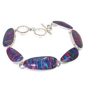 Designer Created Fire Opal Sterling Silver Bracelet