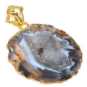 Unique Brown Druzy Sterling Silver Gold Plated Pendant