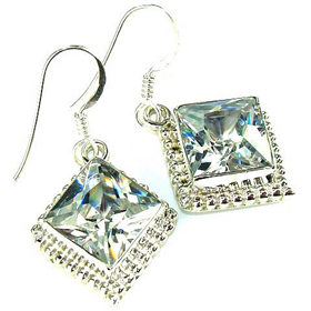 Finest Quality Cubic Zirconia Sterling Silver Earrings Jewellery.Silver Gemstone Earrings.