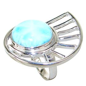 Large Chunky Larimar Sterling Silver Ring size N 1/2