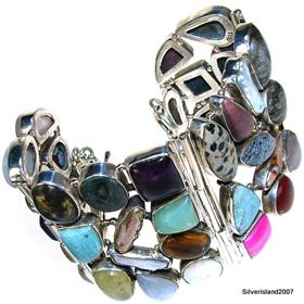 Fantastic Multigem Sterling Silver Bracelet.Silver Gemstone Bracelet.