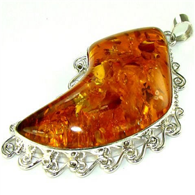 Amber Sterling Silver Pendant Jewellery.Silver Gemstone Pendant.