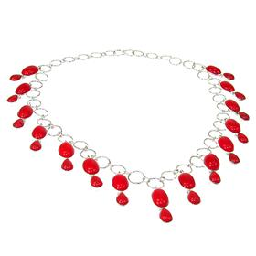 Wonderful Red Coral Sterling Silver Necklace 18 inches long
