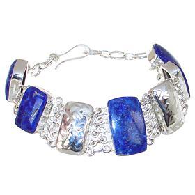 Chunky Glamorous Lapis Lazuli Sterling Silver Bracelet