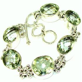 Incredible Green Amethyst  925 Silver Bracelet Jewellery