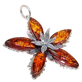 Large Baltic Amber Sterling Silver Pendant