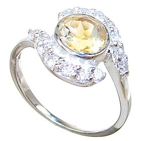 Fancy Citrine Sterling Silver Ring size N