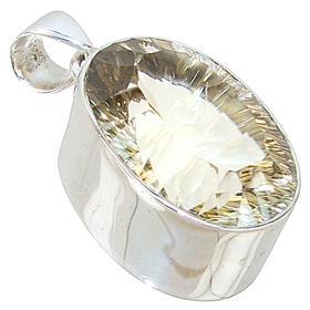 Chunky Golden Mystic Quartz Sterling Silver Pendant