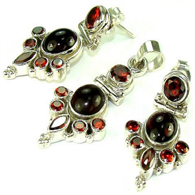 Tourmaline, Garnet Sterling Silver Set Jewellery.Silver Gemstone Set