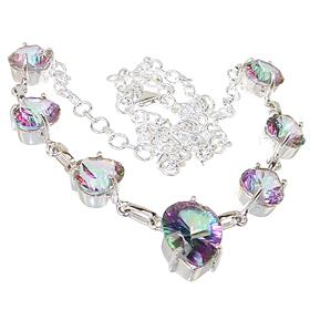 Wonderful Mystic Quartz Sterling Silver Necklace 19 inches long
