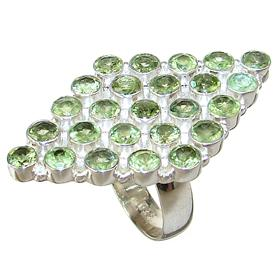 Large Peridot Sterling Silver Ring size O