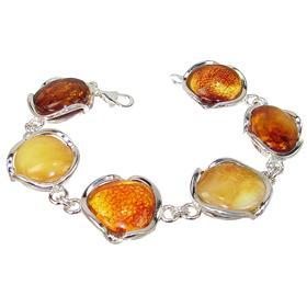 Solid Baltic Amber Sterling Silver Bracelet