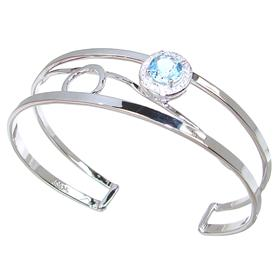 Designer Blue Topaz Sterling Silver Bracelet Bangle