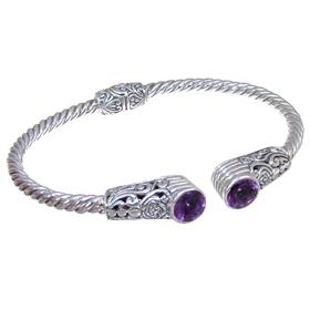 Unique Bali Amethyst Sterling Silver Bracelet Bangle