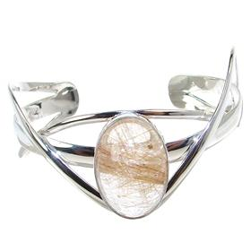 Stunning Rutilated Quartz Sterling Silver Bracelet Bangle