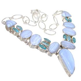 Chunky Blue Lace Agate Sterling Silver Necklace 17 inches long